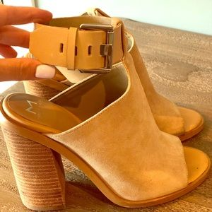 Marc Fisher Nude Suede Sandals 7.5